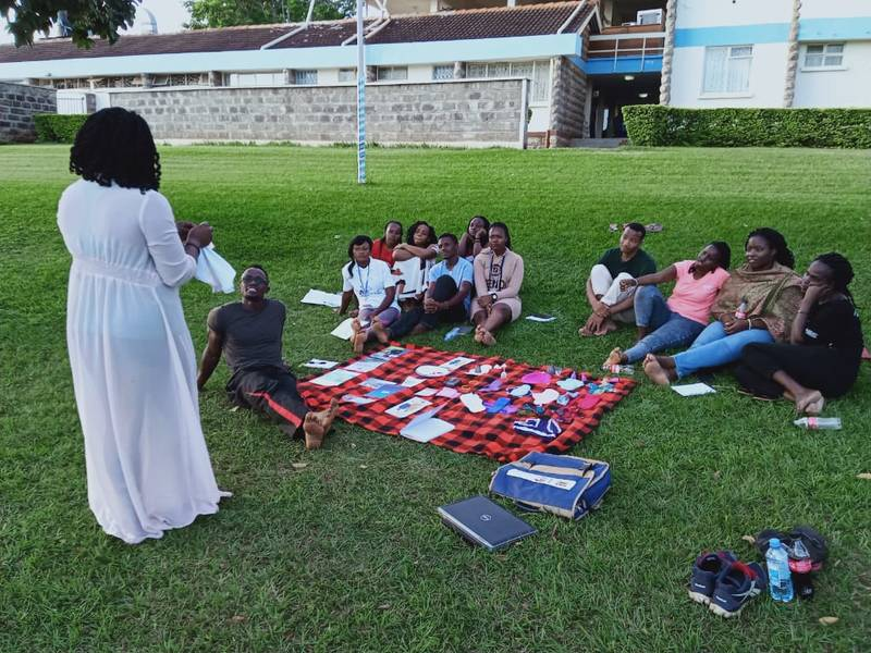 Demonstrations on using menstrual materials at the MHM lab during YALI (Young African Leaders Initiative) training at Kenyatta University in February 2020