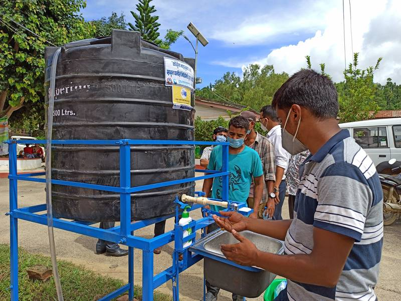 GSF/UN-Habitat supported foot operated hand washing station at Arghakhanchi district hospital of Nepal. Photo: Rajan Bhushal.