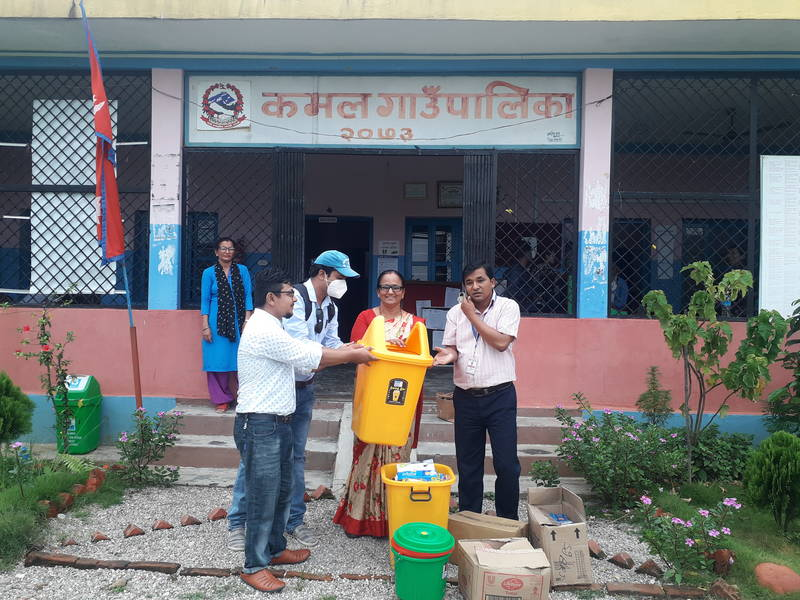 GSF/UN-Habitat handed over WASH and clinical materials to Menuka Kafle, chairperson of Kamal Rural Municipality, Jhapa of Nepal